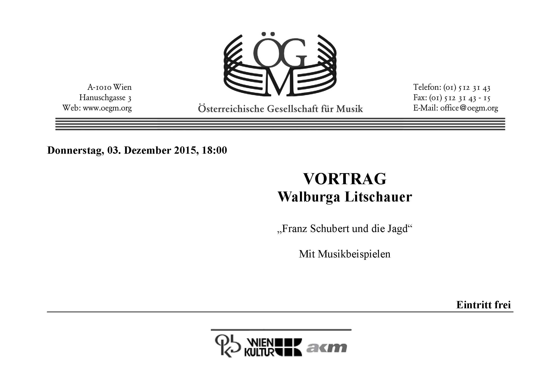 """einladung zu """"franz schubert und die jagd - mit musikbeispielen"""", Einladung"""